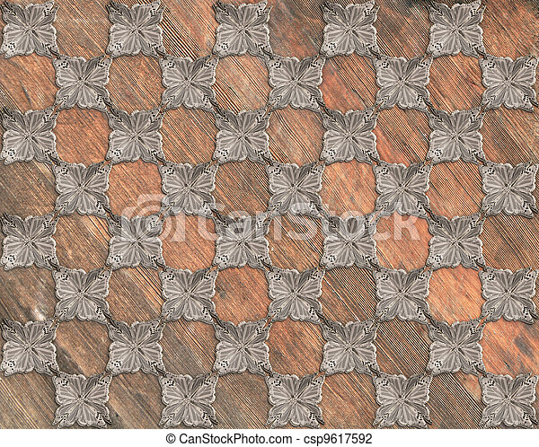 Faux Grunge Wood Marquetry #30 - csp9617592