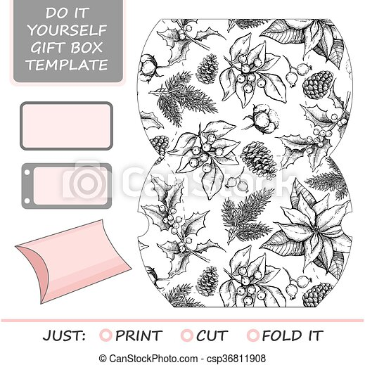 Favor gift box die cut box template with winter floral vector favor gift box die cut box template with winter floral pattern csp36811908 solutioingenieria Images