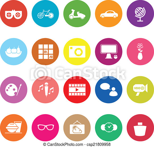 Favorite and like flat icons on white background - csp21809958