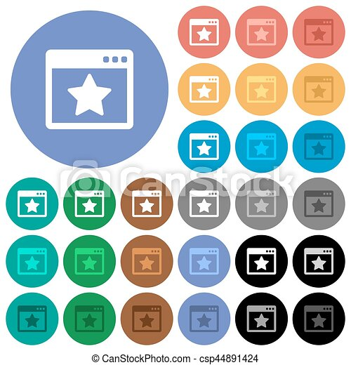 Favorite application round flat multi colored icons - csp44891424