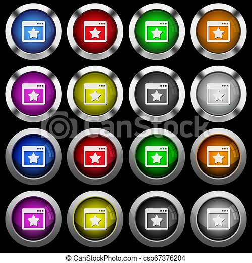 Favorite application white icons in round glossy buttons on black background - csp67376204