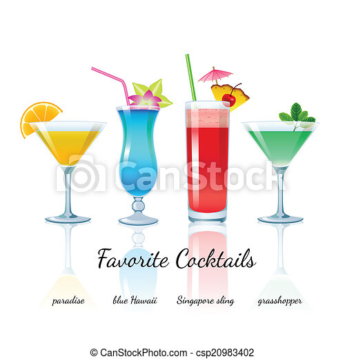 Favorite cocktails set, isolated - csp20983402