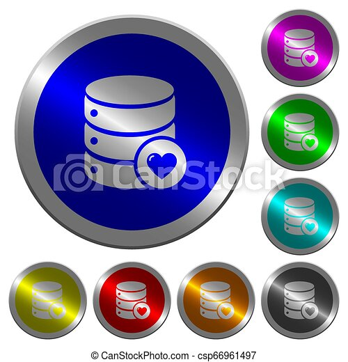 Favorite database luminous coin-like round color buttons - csp66961497
