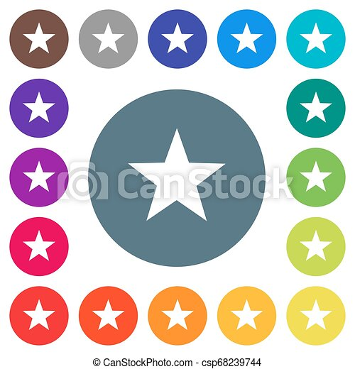 Favorite flat white icons on round color backgrounds - csp68239744