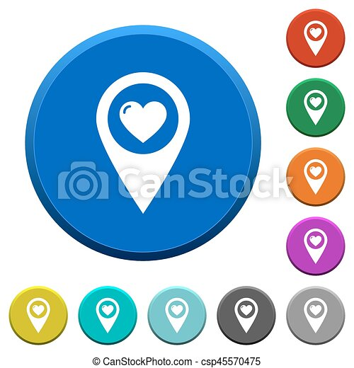 Favorite GPS map location beveled buttons - csp45570475