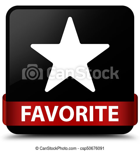 Favorite (star icon) black square button red ribbon in middle - csp50676091