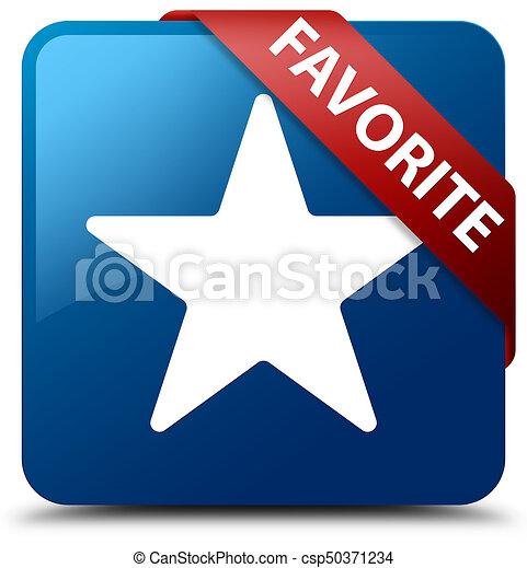 Favorite (star icon) blue square button red ribbon in corner - csp50371234