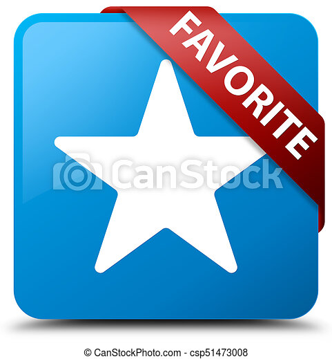 Favorite (star icon) cyan blue square button red ribbon in corner - csp51473008