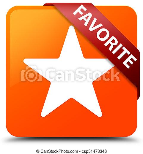 Favorite (star icon) orange square button red ribbon in corner - csp51473348