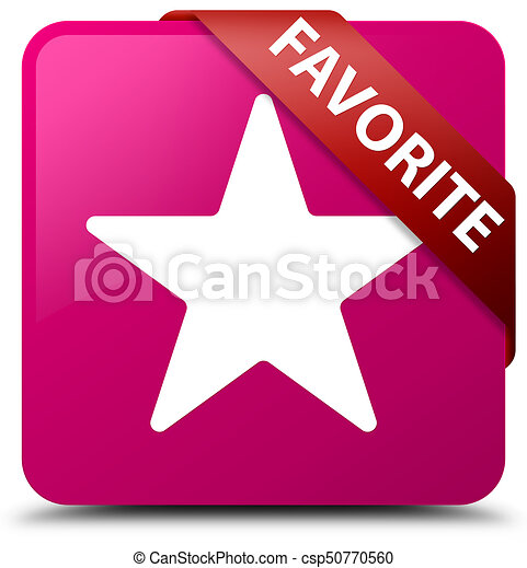 Favorite (star icon) pink square button red ribbon in corner - csp50770560