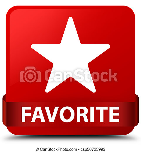 Favorite (star icon) red square button red ribbon in middle - csp50725993