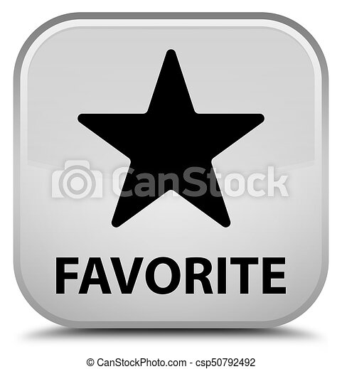 Favorite (star icon) special white square button - csp50792492