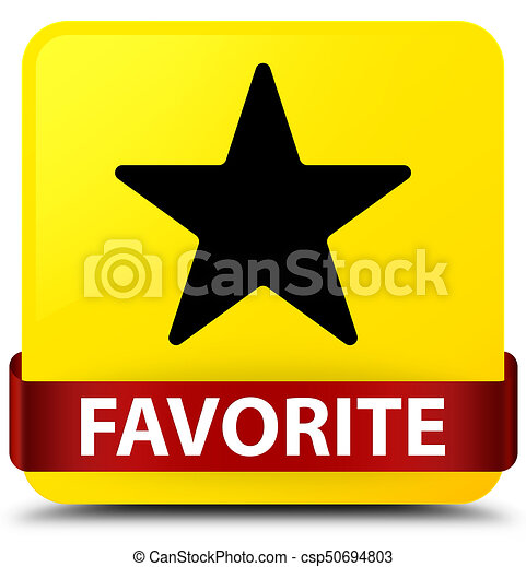 Favorite (star icon) yellow square button red ribbon in middle - csp50694803