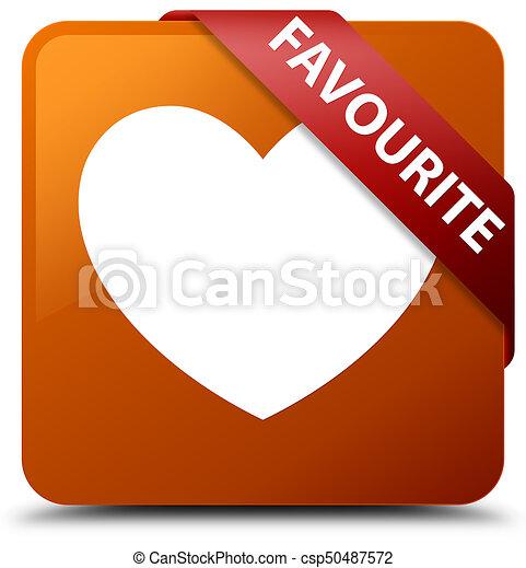 Favourite (heart icon) brown square button red ribbon in corner - csp50487572