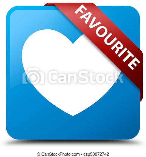 Favourite (heart icon) cyan blue square button red ribbon in corner - csp50072742