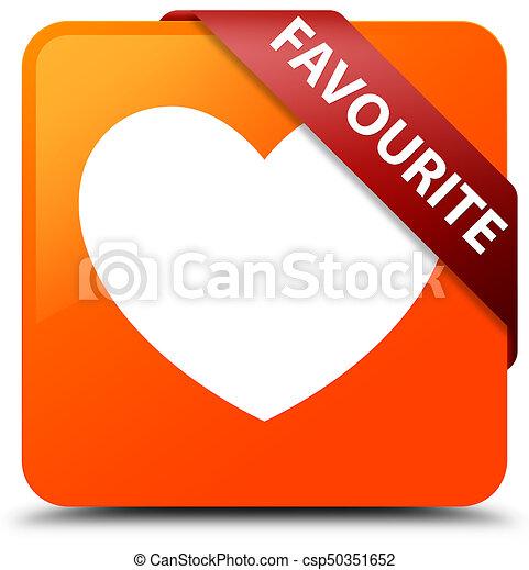 Favourite (heart icon) orange square button red ribbon in corner - csp50351652