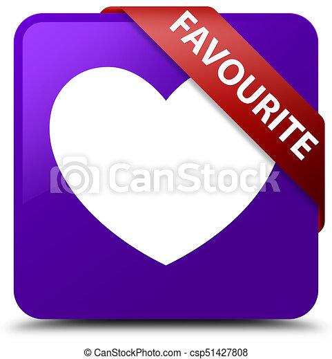 Favourite (heart icon) purple square button red ribbon in corner - csp51427808