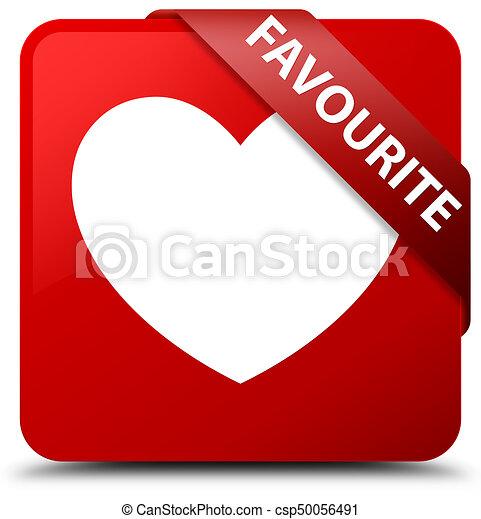 Favourite (heart icon) red square button red ribbon in corner - csp50056491