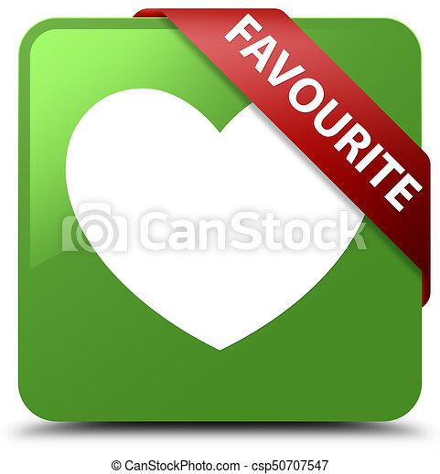 Favourite (heart icon) soft green square button red ribbon in corner - csp50707547