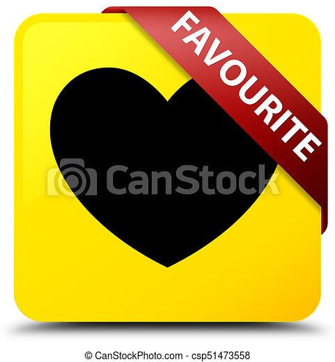 Favourite (heart icon) yellow square button red ribbon in corner - csp51473558