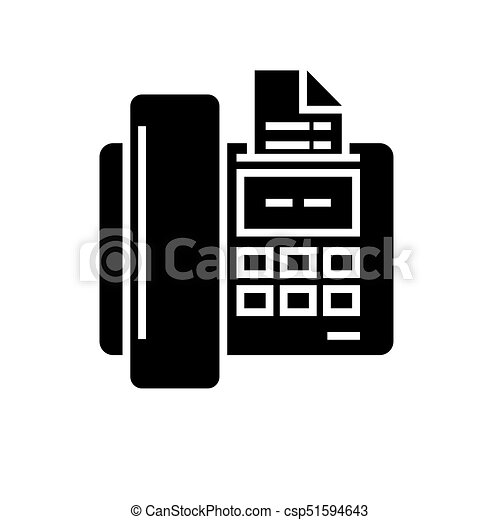 fax icon, vector illustration, black sign on isolated background - csp51594643