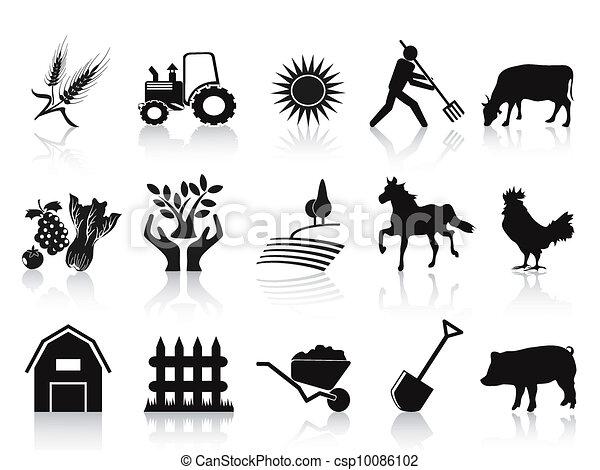 fazenda, agricultura, jogo, pretas, ícones - csp10086102