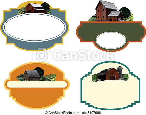 fazenda, etiquetas, cena - csp6197998