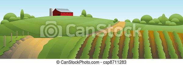 fazenda, paisagem, ilustração - csp8711283