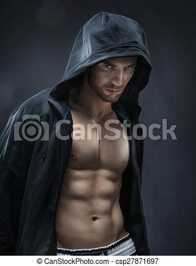 fazer, atleta, músculos, muscular, bonito - csp27871697