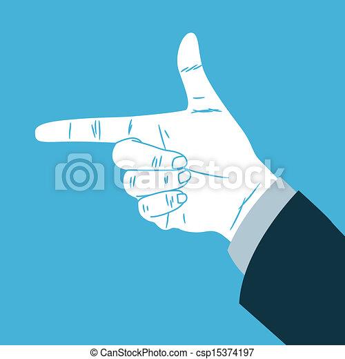 fazer, direção, sinal mão - csp15374197
