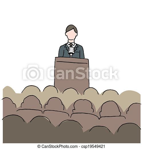 fazer, fala, público, homem - csp19549421