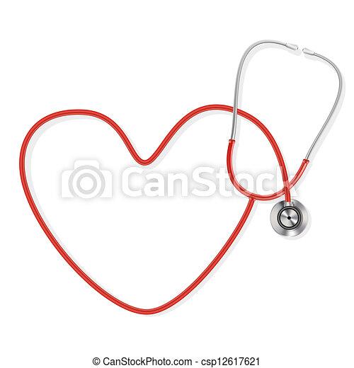 fazer, forma, estetoscópio, coração - csp12617621