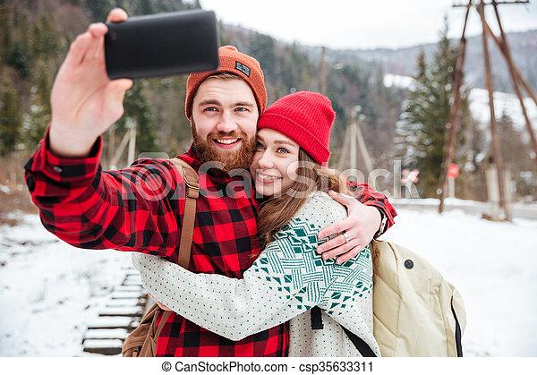fazer, par, foto, selfie, ao ar livre - csp35633311