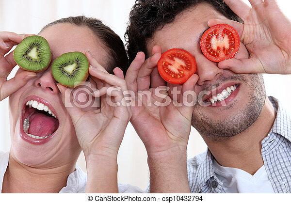 fazer, par, rostos engraçados - csp10432794