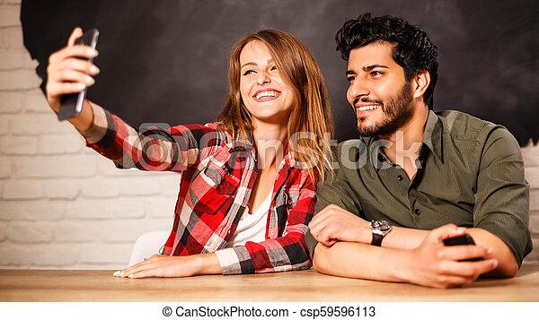 fazer, par, selfie, feliz - csp59596113
