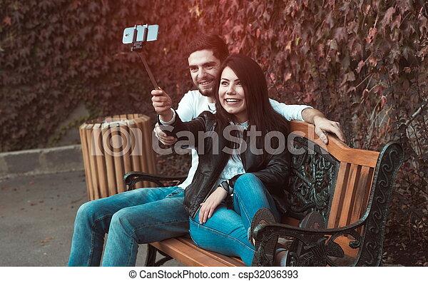 fazer, par, selfie - csp32036393