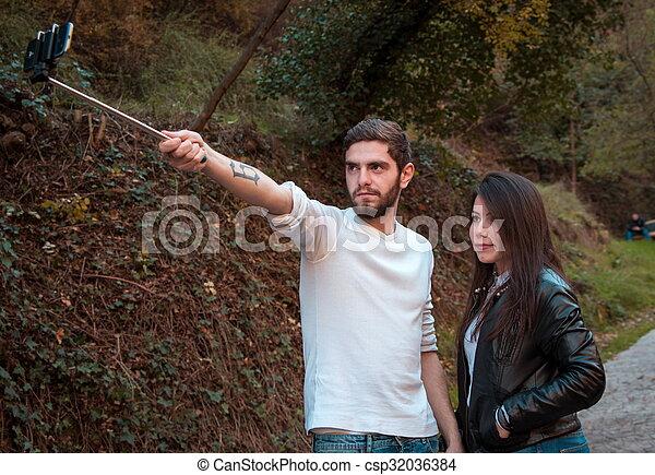 fazer, par, selfie - csp32036384