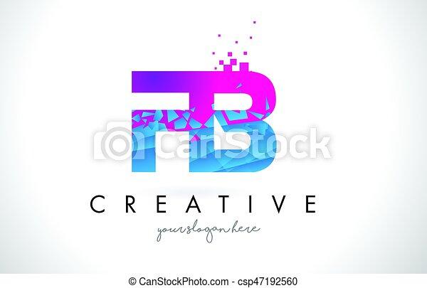 Fb F B Letter Logo With Shattered Broken Blue Pink Texture Design