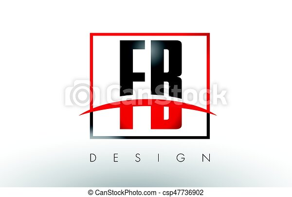 Fb F B Logo Letters With Red And Black Colors And Swoosh Creative