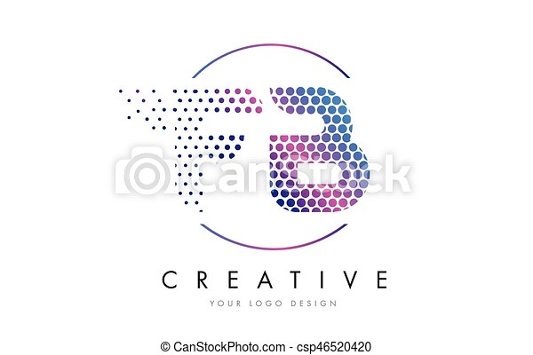 Fb F B Pink Magenta Dotted Bubble Letter Logo Design Vector Fb F B