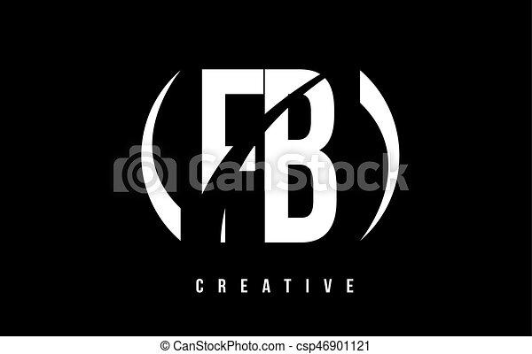 Fb F B White Letter Logo Design With Black Background Fb F B White