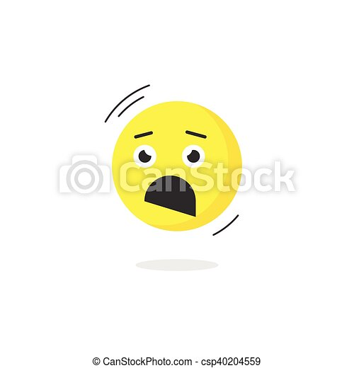 fear emoticon face icon isolated scared emotion terrified emoji rh canstockphoto com cartoon afraid face scared face cartoon drawing