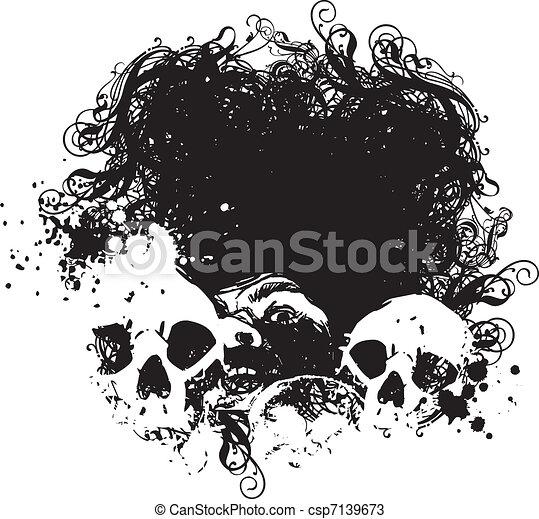 Fear Skull Illustration - csp7139673
