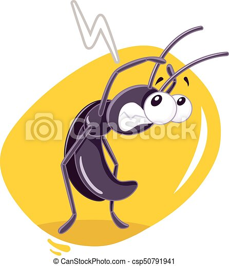 Fearful Cockroach Insect Vector Cartoon - csp50791941