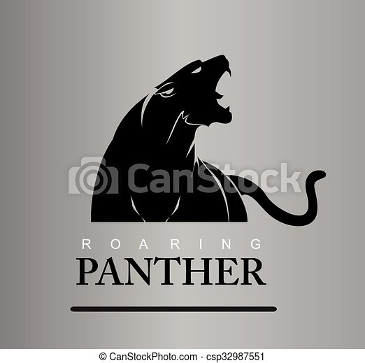 Fearless Panther. Roaring Predator - csp32987551
