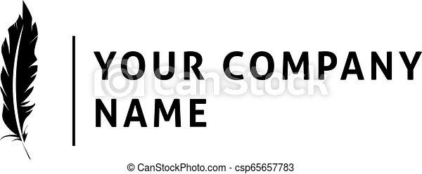 Vector Logo, auf dem das abstrakte Bild der Feder. - csp65657783