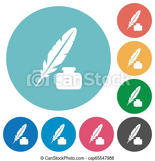 Feather and ink bottle flat round icons - csp65547988