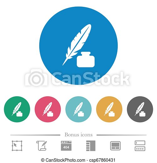 Feather and ink bottle flat round icons - csp67860431