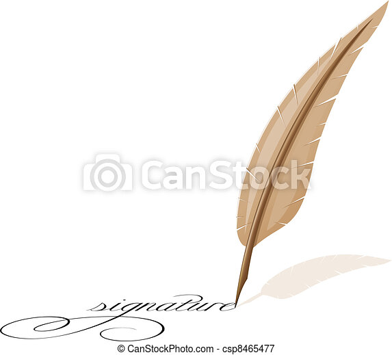 feather and signature - csp8465477