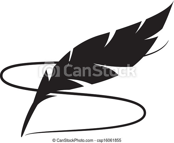 Line Art Feather : Black silhouette of feather with line clipart vector search